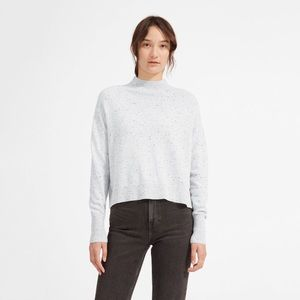 Everlane Cashmere Mockneck Crop Sweater Donegal XL
